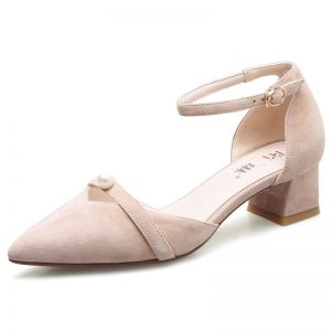 Elegant Outdoor / Garden Womens Shoes 2017 Leather Suede Pearl Low Heel Pointed Toe Sandals