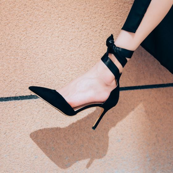 Chic / Beautiful Black Prom Womens Shoes 2018 Leather Ankle Strap Bow 8 cm Stiletto Heels Pointed Toe Pumps