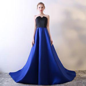 Schlicht Königliches Blau Abendkleider 2018 A Linie Herz-Ausschnitt Ärmellos Metall Stoffgürtel Kathedrale Schleppe Rückenfreies Festliche Kleider