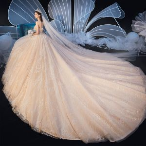 Chic / Beautiful Champagne Wedding Dresses 2019 Ball Gown Sweetheart Sleeveless Backless Glitter Tulle Appliques Lace Beading Cathedral Train Ruffle