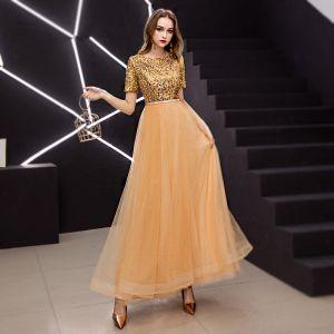 Elegant Gold Prom Dresses 2019 A-Line / Princess Scoop Neck Sequined Short Sleeve Ankle Length Formal Dresses