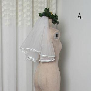 Schlicht Weiß Kurze Brautschleier Chiffon Hochzeit Brautaccessoires 2019