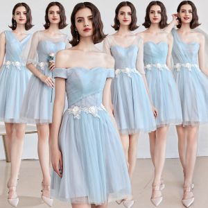 Affordable Sky Blue Bridesmaid Dresses 2019 A-Line / Princess Appliques Lace Flower Short Ruffle Backless Wedding Party Dresses