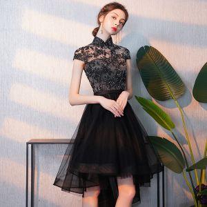 Elegante Zwarte Cocktailjurken 2018 A lijn Asymmetrisch Rhinestone Geborduurde Hoge Kraag Kapmouwen Gelegenheid Jurken