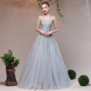 Sparkly Grey Evening Dresses  2017 Lace Backless Glitter Sequins Strappy A-Line / Princess Formal Dresses