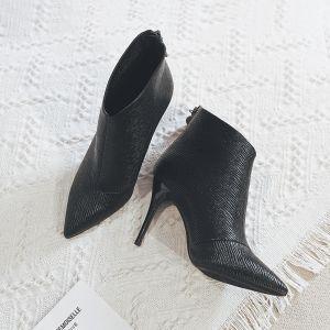 Minimalistisch Schwarz Strassenmode Ankle Boots Stiefel Damen 2020 9 cm Stilettos Spitzschuh Stiefel
