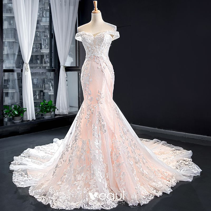 Luxury Gorgeous Blushing Pink Bridal Wedding Dresses 2020 Trumpet Mermaid Off The Shoulder Short Sleeve Backless Appliques Lace Beading Chapel
