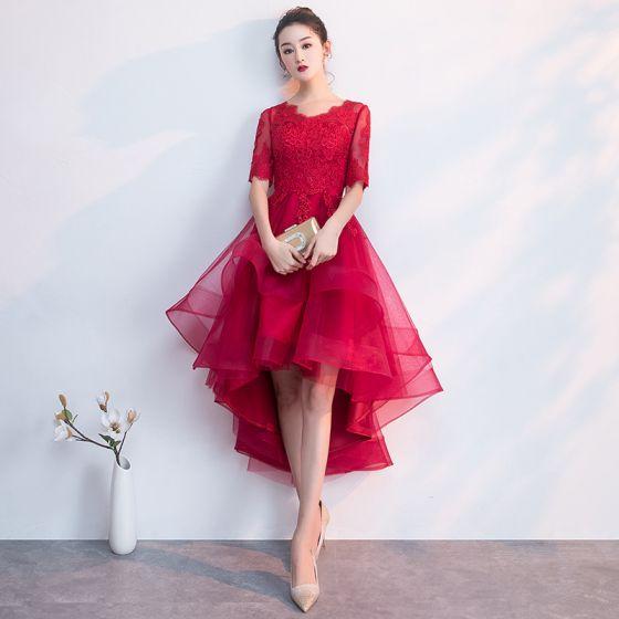 Charmig Burgundy Festklänningar 2019 Prinsessa Urringning 1/2 ärm Spets Blomma Asymmetrisk Formella Klänningar
