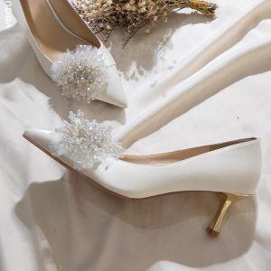 Charmerende Ivory Satin Brudesko 2020 Læder Beading Krystal Perle 7 cm Stiletter Spidse Tå Bryllup Pumps