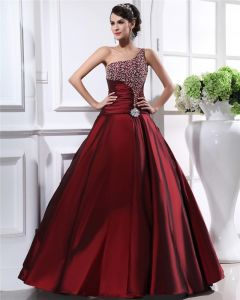 Taffeta Ruffles Beads One Shoulder Floor Length Prom Dress