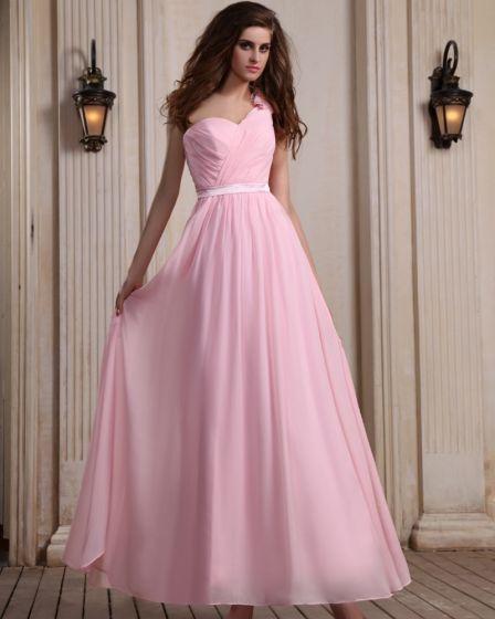 Sleeveless Chiffon Ruffles One Shoulder Pink Floor Length Evening Party Dresses