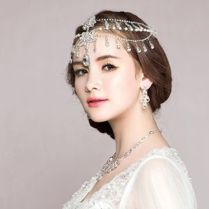 Chic / Beautiful Silver Bridal Jewelry 2017 Metal Beading Crystal Rhinestone Wedding Prom Accessories
