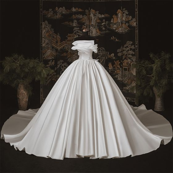 Modest / Simple Luxury / Gorgeous Ivory Satin Bridal Wedding Dresses 2020 Ball Gown Strapless Sleeveless Backless Cathedral Train Ruffle