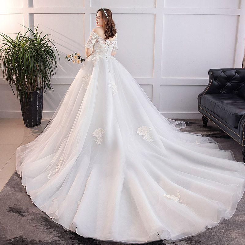Classique Élégant Blanche Grande Taille Robe De Mariée 2019 Princesse Dentelle Tulle Appliques Dos Nu Bustier Chapel Train Mariage