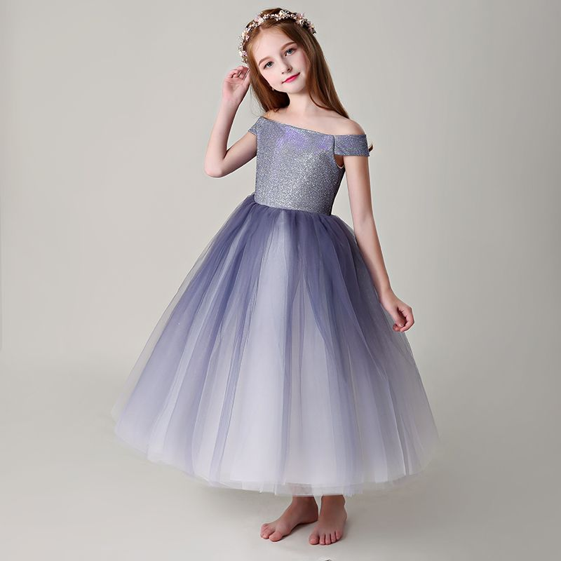 Chic / Beautiful Purple Flower Girl Dresses 2019 Ball Gown Off-The-Shoulder Short Sleeve Glitter Polyester Ankle Length Ruffle Backless Wedding Party Dresses