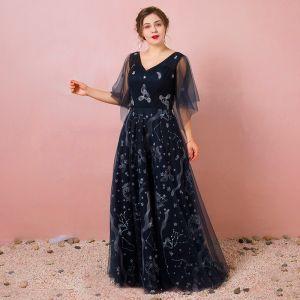 Bling Bling Bleu Marine Robe De Soirée 2018 Tulle Dos Nu Impression Printemps Soirée Robe De Ceremonie