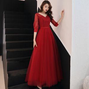 Chic / Beautiful Burgundy Evening Dresses  2019 A-Line / Princess V-Neck Puffy 3/4 Sleeve Sequins Sash Floor-Length / Long Ruffle Backless Formal Dresses