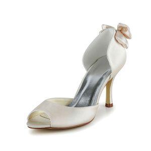 Chic Chaussures De Mariée Ivory Stilettos Satin Escarpins Avec Noeud