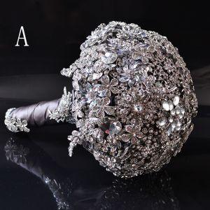 Luksusowe Srebrny Metal Frezowanie Kryształ Rhinestone Bukiety Ślubne 2019