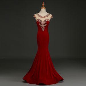 Elegantes Borgoña Vestidos de noche 2019 Trumpet / Mermaid Suede V-Cuello Rhinestone Con Encaje Flor Mangas de la tapa Largos Vestidos Formales