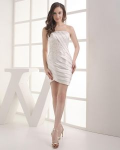 Strapless Beading Pleated Applique Mini Length Satin Woman Graduation Dress