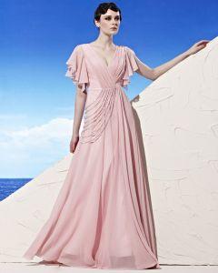 Longueur De Plancher De Cou De V Perlant Douille De Ruche Empire Tencel Robe De Soirée De Femme