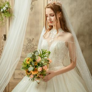 Luxury / Gorgeous Ivory See-through Wedding Dresses 2019 Ball Gown High Neck Cap Sleeves Backless Appliques Lace Beading Tassel Glitter Tulle Cathedral Train Ruffle