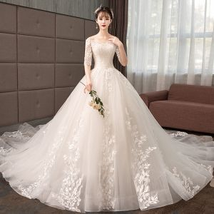 Elegant Champagne Wedding Dresses 2019 A-Line / Princess Off-The-Shoulder Lace Flower Sequins 1/2 Sleeves Backless Royal Train