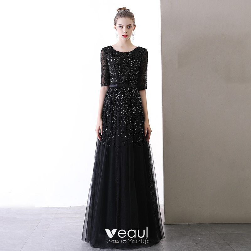 Chic / Beautiful Black Evening Dresses  2020 A-Line / Princess Scoop Neck 1/2 Sleeves Glitter Tulle Bow Sash Floor-Length / Long Ruffle Backless Formal Dresses