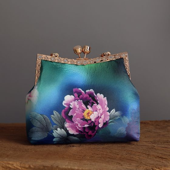 Vintage Estilo Chino Verde Cuadradas Bolsas de embrague 2020 Metal Impresión Flor Poliéster