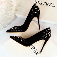 Chic / Beautiful Black Suede Prom Pumps 2019 Rhinestone 10 cm Stiletto Heels Pointed Toe Pumps