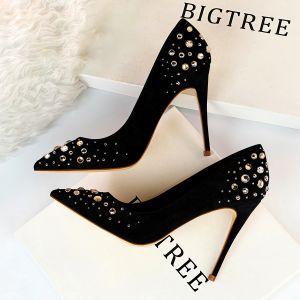 Chic / Beautiful Black Suede Prom Pumps 2019 Rhinestone 10 cm Stiletto Heels Pointed Toe Pumps