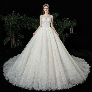 Best Champagne Lace Wedding Dresses 2020 Ball Gown See-through Square Neckline Short Sleeve Appliques Lace Beading Chapel Train Ruffle