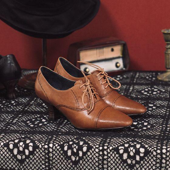 Vintage Bruin Straatkleding Dames Laarzen 2021 Leer 6 cm Dikke Hak Spitse Neus Laarzen