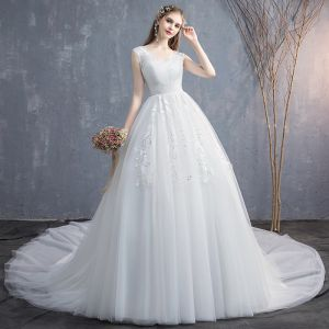 Affordable Ivory Wedding Dresses 2019 Empire V-Neck Sleeveless Backless Appliques Lace Chapel Train Ruffle