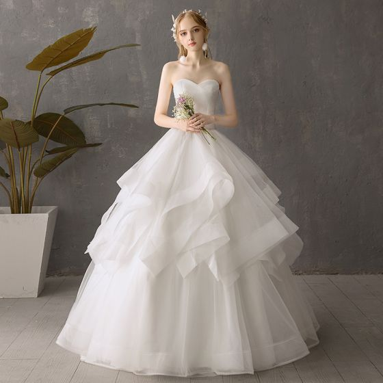 Charmant Modest Simple Ivory Outdoor Garden Wedding Dresses 2019 Ball Gown  Sweetheart Sleeveless Backless Floor Length Long Cascading Ruffles 560x560