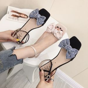 Lovely Black Casual Womens Sandals 2019 Ankle Strap Rhinestone Bow 5 cm Mid Heels Thick Heels Open / Peep Toe Sandals