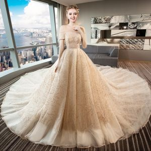 Chic / Beautiful Champagne Wedding Dresses 2018 Ball Gown Glitter Off-The-Shoulder Backless Sleeveless Royal Train Wedding