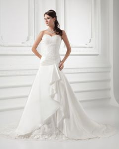 Satin Beads Applique Sweetheart Court Train A Line Wedding Dress