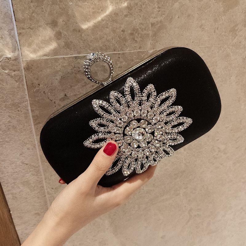 Chic / Beautiful 2017 Black Black Leaf Rhinestone PU Evening Party Outdoor / Garden Clutch Bags