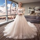 Elegant Ivory See-through Wedding Dresses 2018 Ball Gown Scoop Neck 3/4 Sleeve Backless Appliques Pierced Lace Royal Train Ruffle
