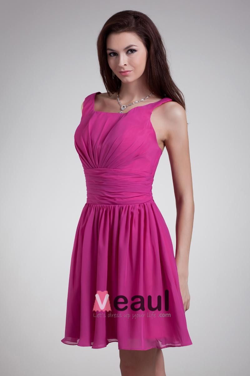 Square Neck Pleated Mini Chiffon Bridesmaids Dresses