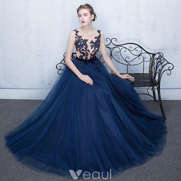 Beautiful Evening Dress 2017 Blue Lace Long Formal Gown Sleeveless