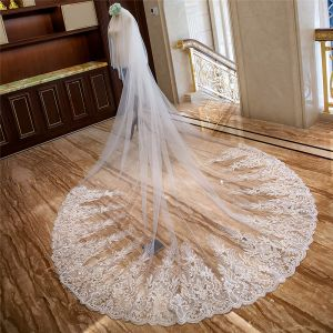 Chic / Beautiful White Royal Train Wedding Tulle Appliques 4 m Wedding Veils 2018