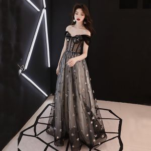 Elegant Black See-through Prom Dresses 2019 A-Line / Princess Off-The-Shoulder Short Sleeve Star Appliques Sequins Floor-Length / Long Ruffle Backless Formal Dresses