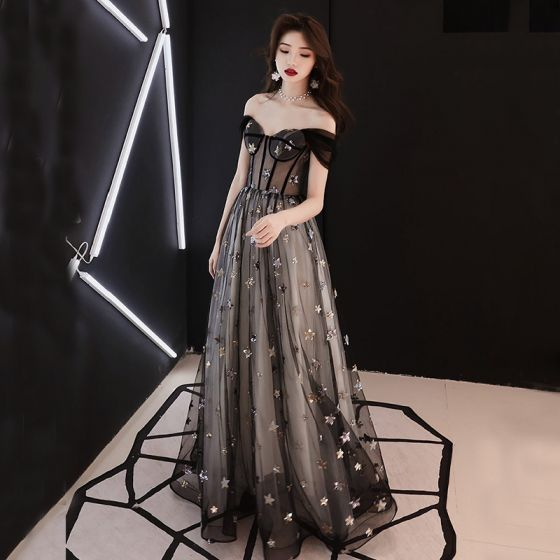 56169a4120 Elegant Black See-through Prom Dresses 2019 A-Line / Princess Off-The- Shoulder Short Sleeve Star Appliques Sequins Floor-Length / Long ...