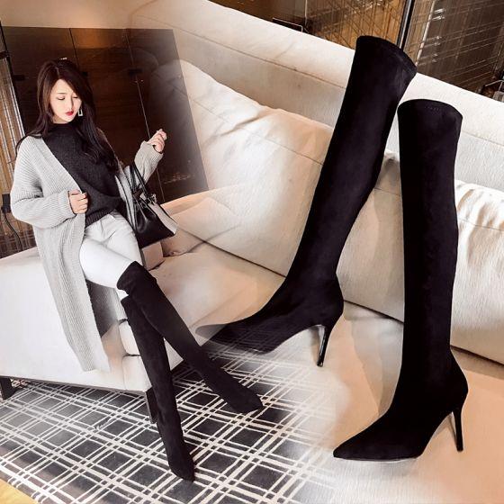 High-end Zwarte Straatkleding Suede Dames Laarzen 2020 Leer 8 cm Naaldhakken / Stiletto Spitse Neus Laarzen