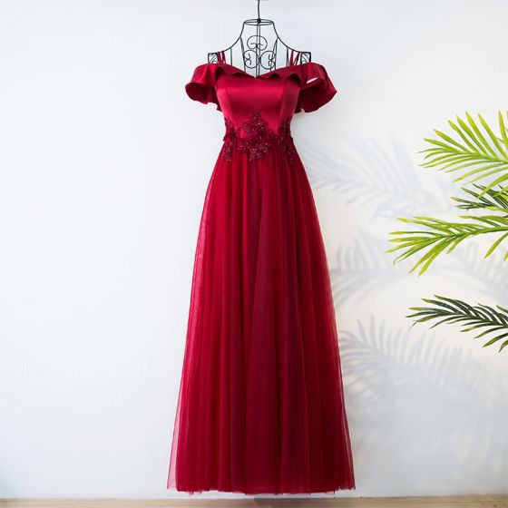 Chic / Beautiful Red Chinese style Evening Dresses  2017 A-Line / Princess Off-The-Shoulder Short Sleeve Crossed Straps Appliques Beading Flower Tea-length Evening Party