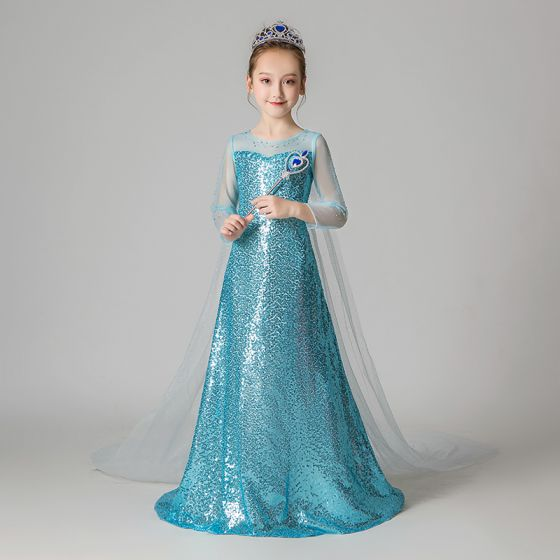 Frozen Costume Jade Green Sequins Birthday Flower Girl Dresses 2020 A-Line / Princess Scoop Neck See-through 3/4 Sleeve Rhinestone Watteau Train Backless Wedding Party Dresses