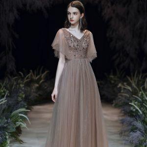 Charming Brown Evening Dresses  2020 A-Line / Princess V-Neck Beading Sequins Short Sleeve Backless Floor-Length / Long Formal Dresses